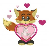 Be Mine Cute Little Fox With a Heart Applique Machine Embroidery Digitized Design Pattern