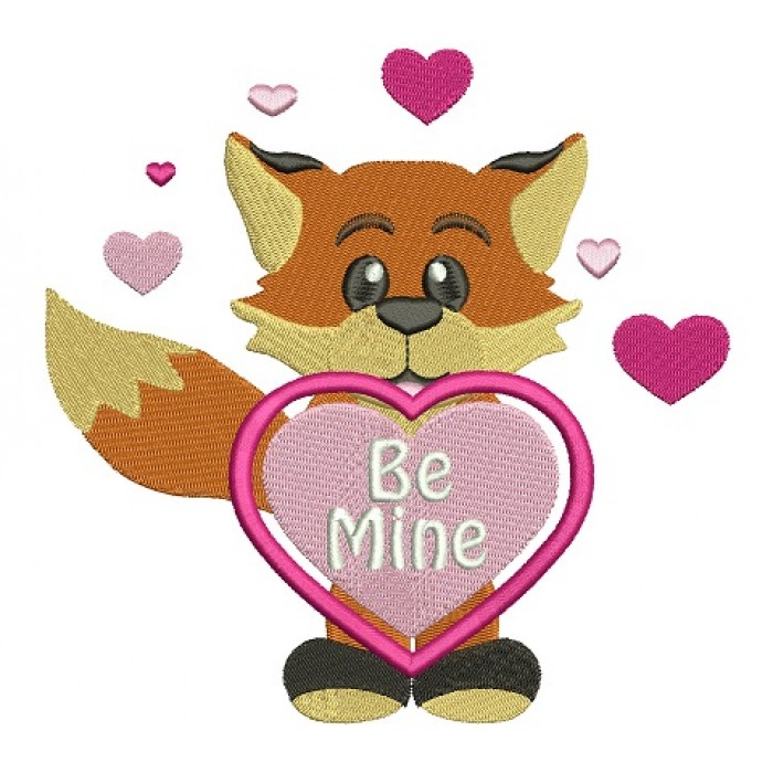 Be Mine Cute Little Fox With a Heart Filled Machine Embroidery Digitized Design Pattern