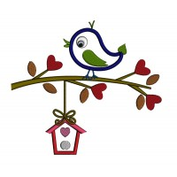 Bird on a Branch With a Tree House Applique Machine Embroidery Digitized Design Pattern