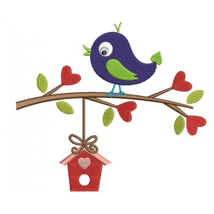 Bird on a Branch With a Tree House Filled Machine Embroidery Digitized Design Pattern