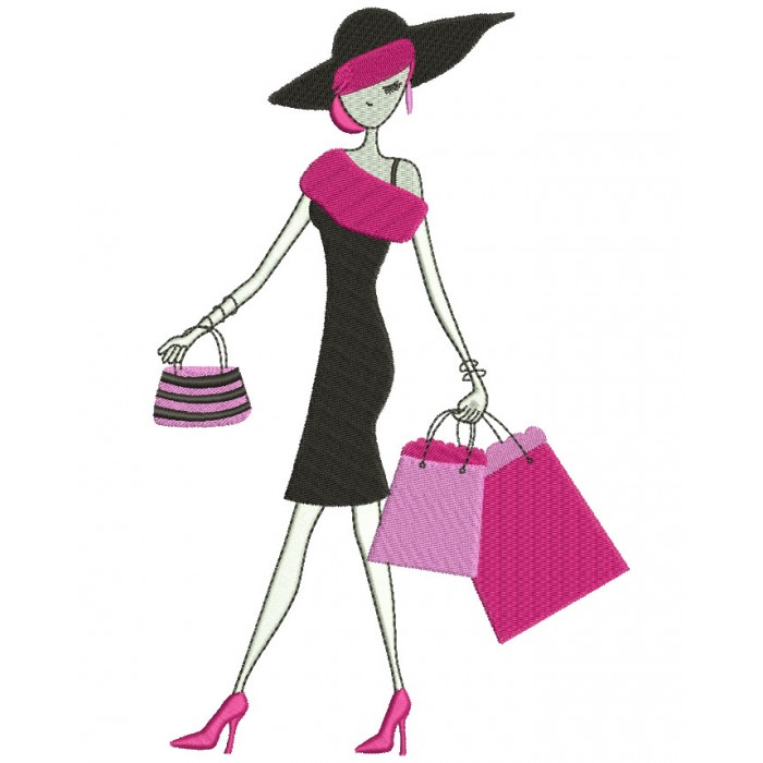 Classy Lady With Shopping Bags Filled Machine Embroidery Digitized Design Pattern