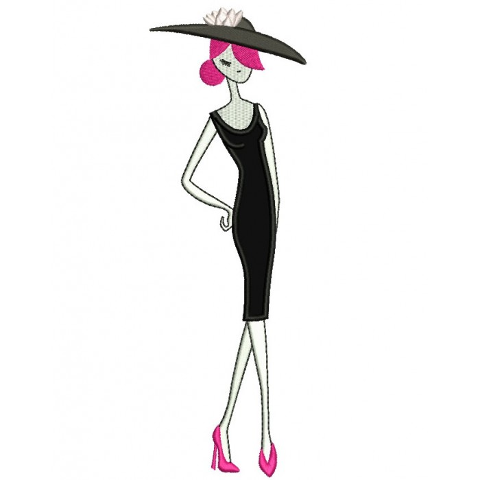 Classy Lady With a Large Hat Applique Machine Embroidery Digitized Design Pattern