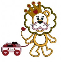Cute Lion With a Crown and a Wagon With Hearts Applique Machine Embroidery Digitized Design Pattern