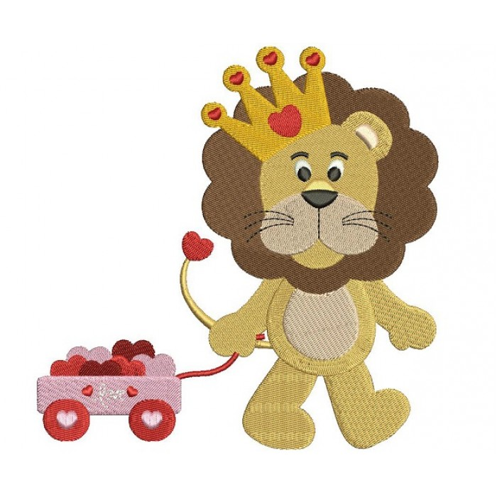 Cute Lion With a Crown and a Wagon With Hearts Filled Machine Embroidery Digitized Design Pattern