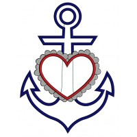Marine Anchor With Heart Applique Machine Embroidery Digitized Design Pattern