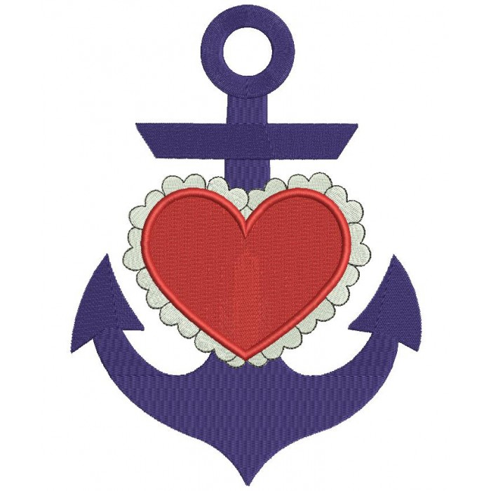 Marine Anchor With Heart Filled Machine Embroidery Digitized Design Pattern