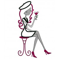 Martini Drinking Happy Hour Girl Applique Machine Embroidery Digitized Design Pattern