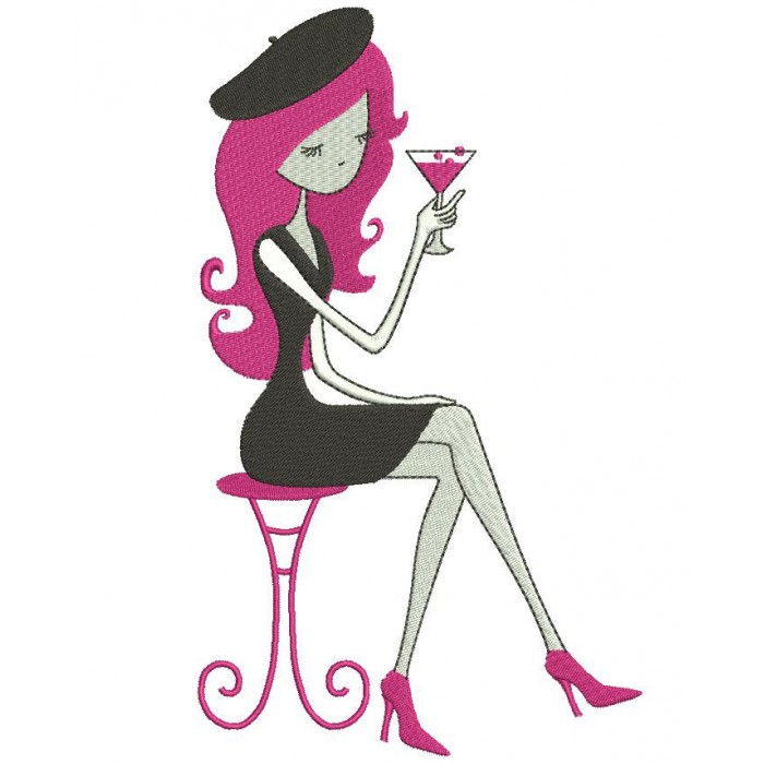 Martini Drinking Happy Hour Girl Filled Machine Embroidery Digitized Design Pattern