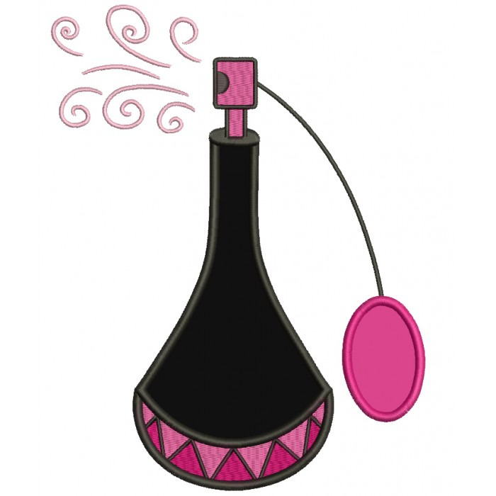 Perfume Bottle Applique Machine Embroidery Digitized Design Pattern