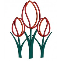 Tulips Flower Applique Machine Embroidery Digitized Design Pattern