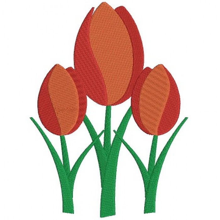 Tulips Flower Filled Machine Embroidery Digitized Design Pattern
