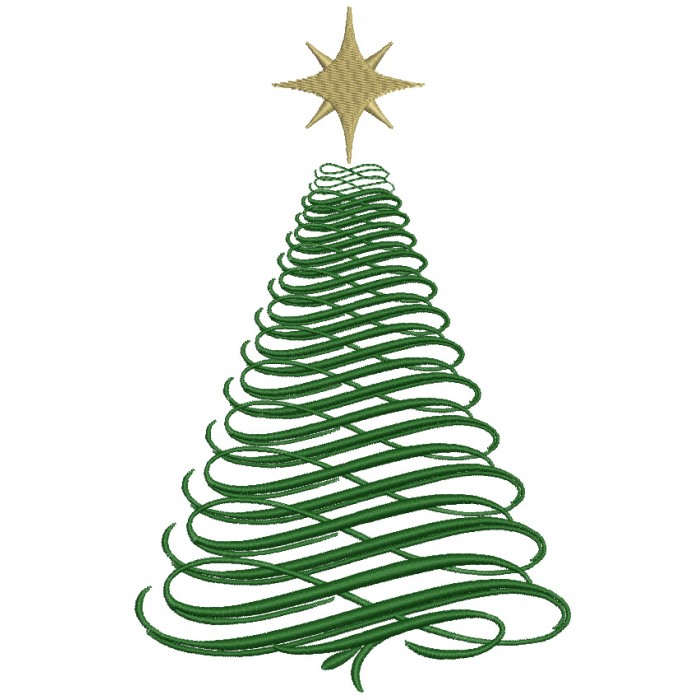 Big Green Christmas Tree Filled Machine Embroidery Digitized Design Pattern