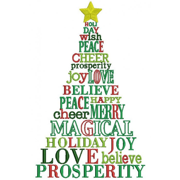 Christmas Tree With Star Filled Machine Embroidery Digitized Design Pattern