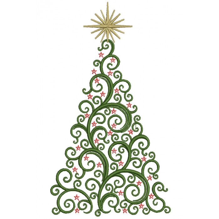 Christmas Tree With Big Star Filled Machine Embroidery Digitized Design Pattern