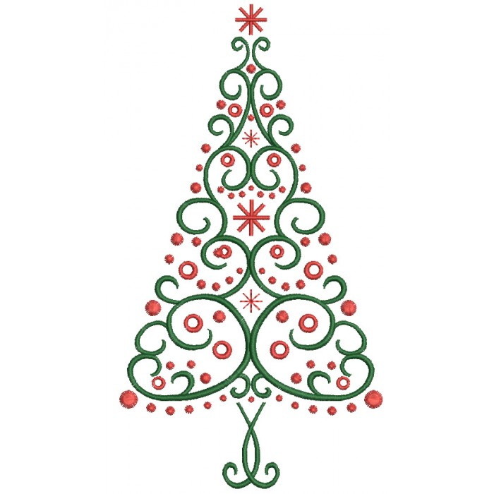 Fancy Christmas Tree Filled Machine Embroidery Digitized Design Pattern
