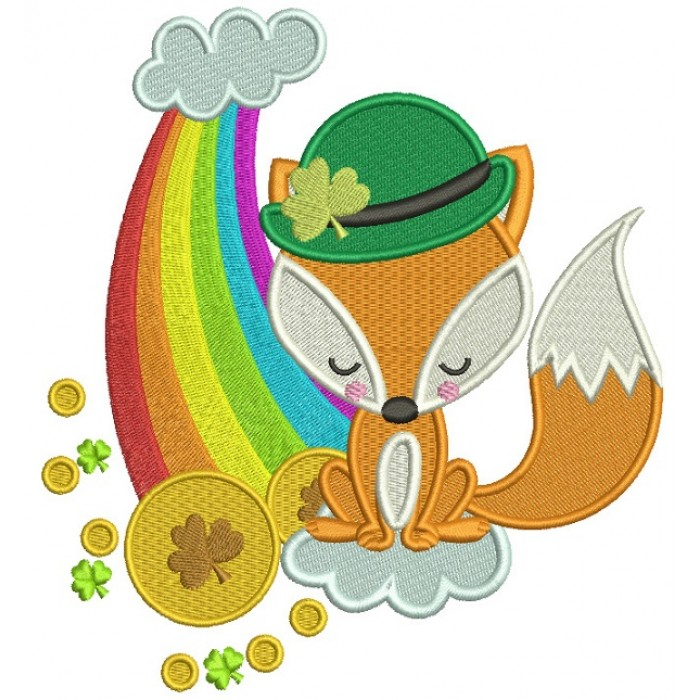 Fox Wearing Hat With Shamrock Sitting Next To Rainbow And Golden Coin St. Patrick's Day Filled Machine Embroidery Design Digitized Pattern