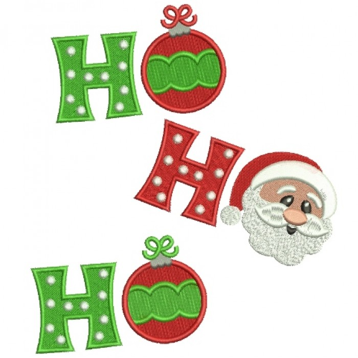 Ho Ho Ho Christmas Filled  Machine Embroidery Digitized Design Pattern