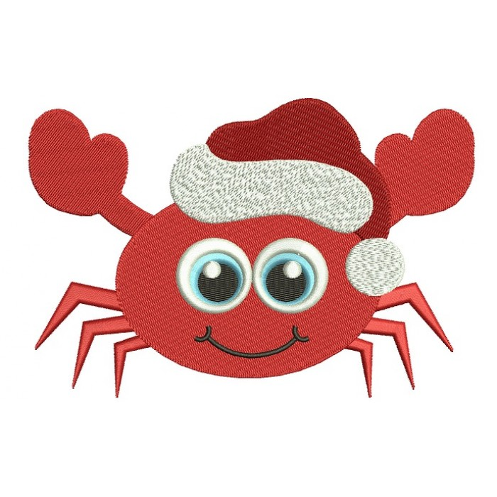 Little Crab Christmas Filled Machine Embroidery Digitized Design Pattern