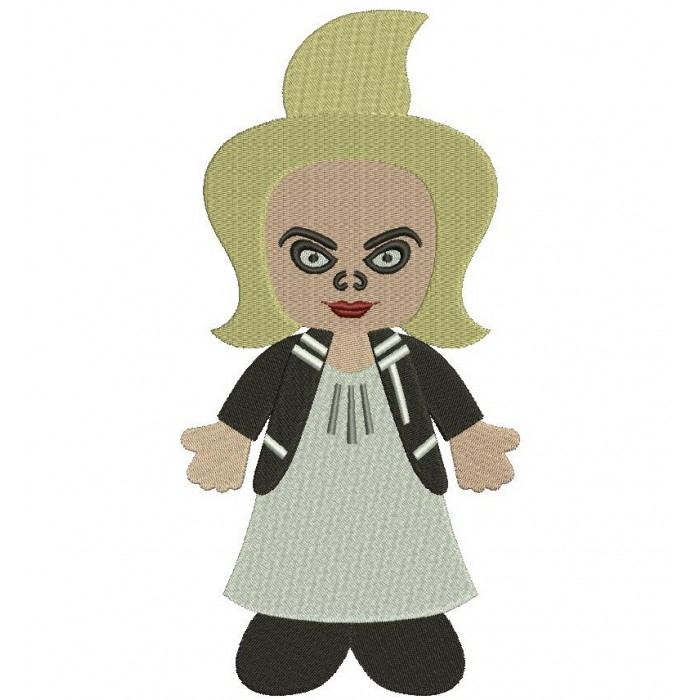 Looks Like Bride of Chucky Horror Filled Machine Embroidery Digitized Design Pattern