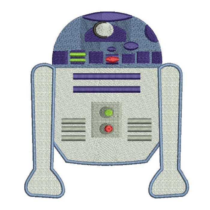 Looks Like R2-D2 From Star Wars Filled Machine Embroidery Digitized Design Pattern