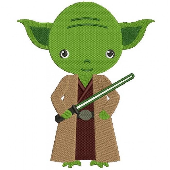 Looks Like Yoda From Star Wars Filled Machine Embroidery Digitized Design Pattern