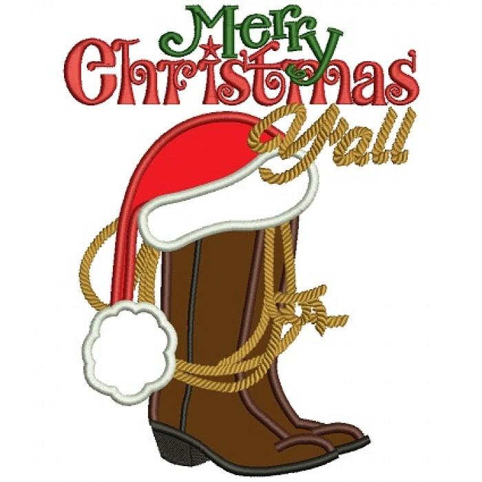 Merry Christmas Yall.Merry Christmas Yall Boot Applique Machine Embroidery Digitized Design Pattern