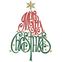 merry christmas tree filled machine embroidery digitized design pattern
