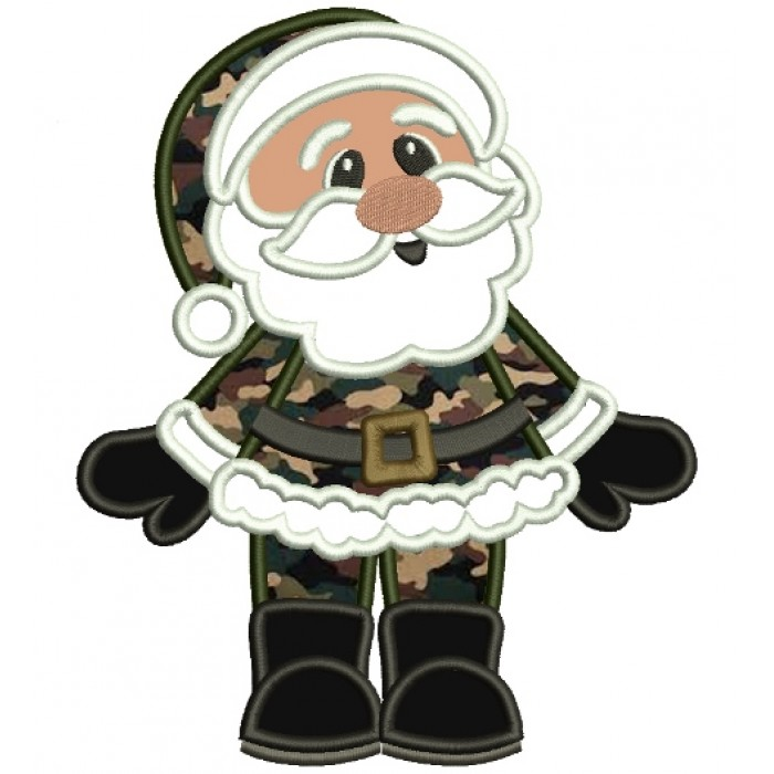 Military Santa Christmas Applique Machine Embroidery Digitized