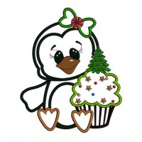 Penguin with Christmas cupcake Applique Machine Embroidery Digitized Design Pattern