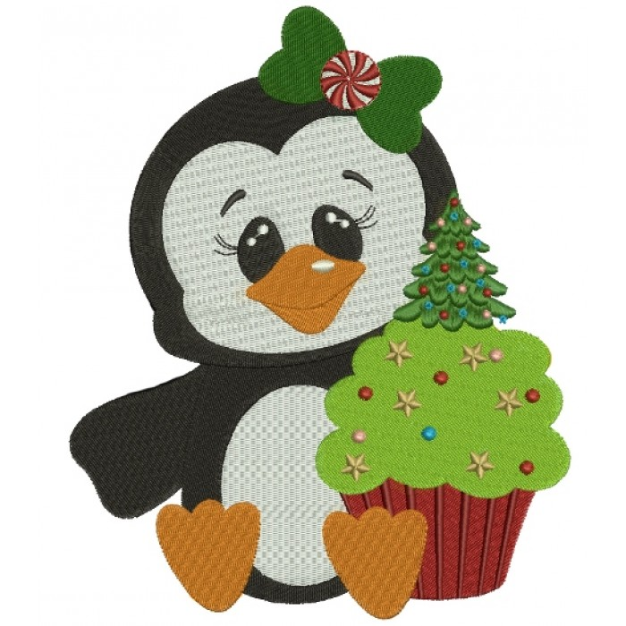 Penguin with Christmas cupcake Filled Machine Embroidery Digitized Design Pattern