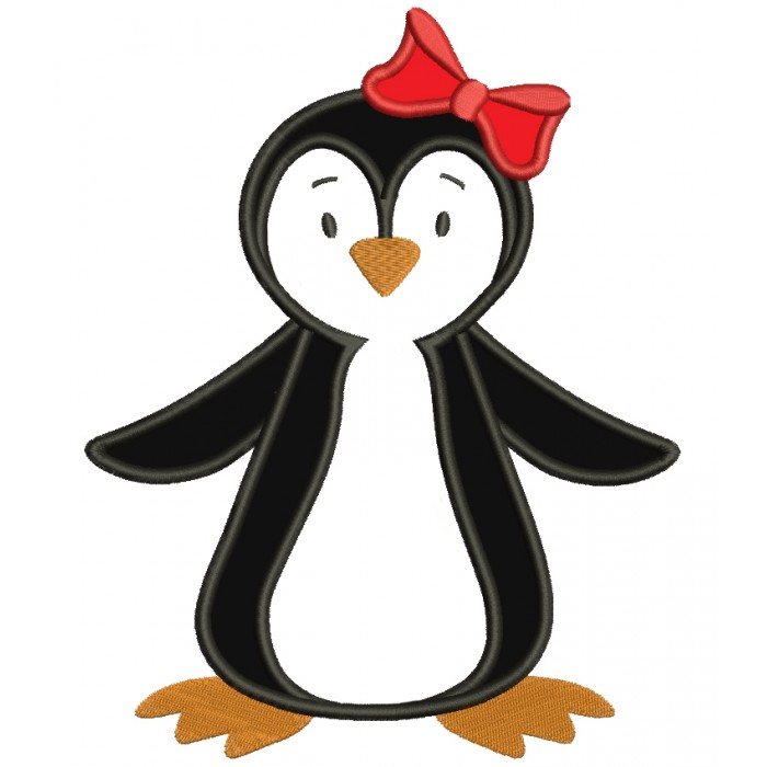 Penguin with a bow Applique Machine Embroidery Digitized Design Pattern