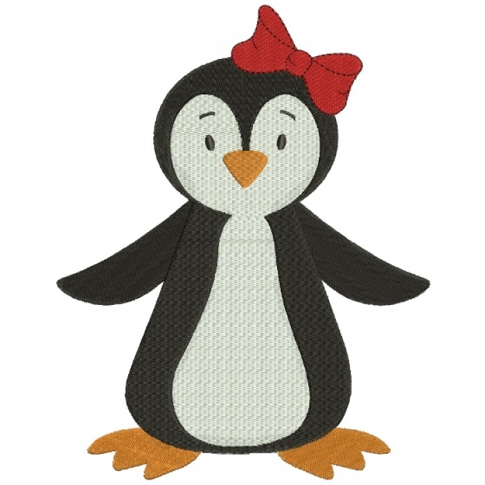 Penguin with a bow Filled Machine Embroidery Digitized Design Pattern