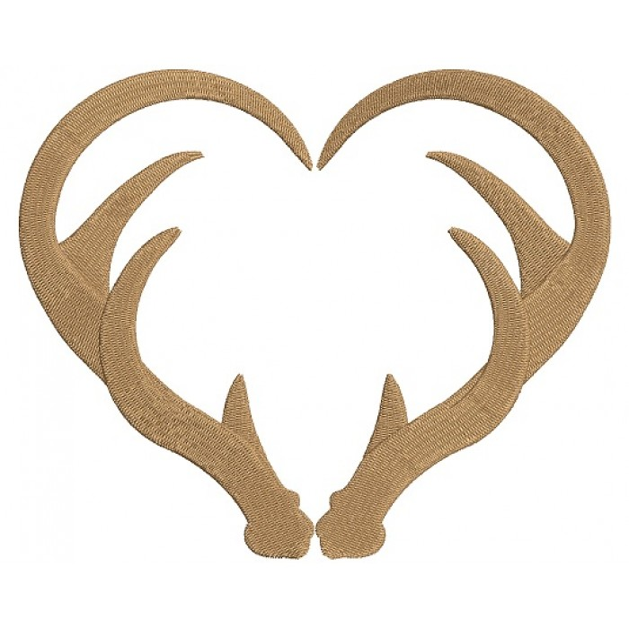Antlers Heart Filled Hunting Machine Embroidery Digitized Design Pattern