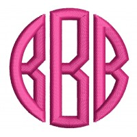 3 Letter Satin Circle Monogram Machine Embroidery Small Satin Font