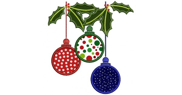 Christmas Tree Ornaments Applique Machine Embroidery Digitized Design Pattern
