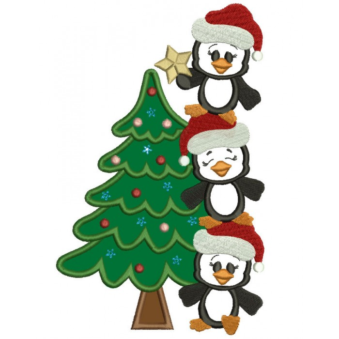 Penguins With Christmas Tree Applique Machine Embroidery Digitized Design Pattern