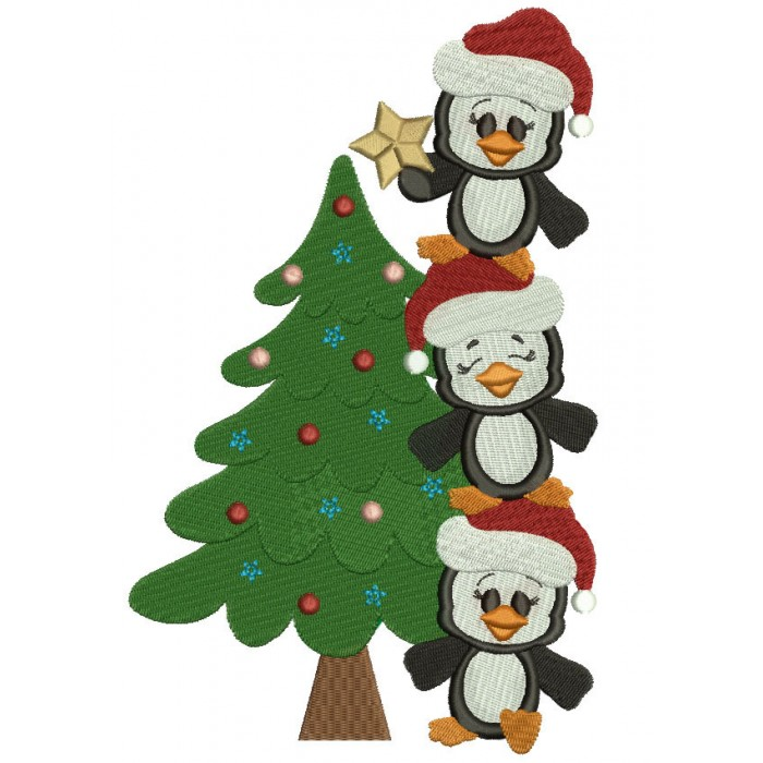 Penguins With Christmas Tree Filled Machine Embroidery Digitized Design Pattern