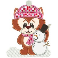 Winter Fox with Snowman Applique Machine Embroidery Digitized Design Pattern