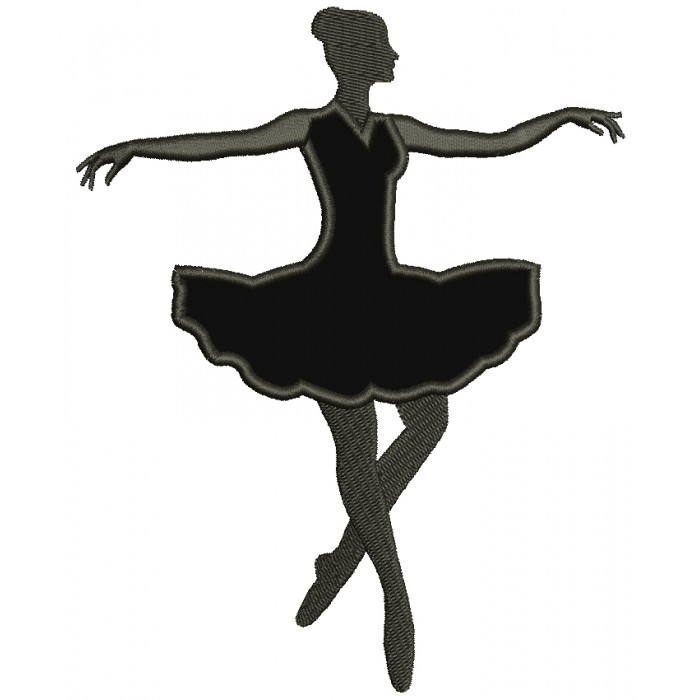 Ballerina Dancer Applique Machine Embroidery Digitized Design Pattern