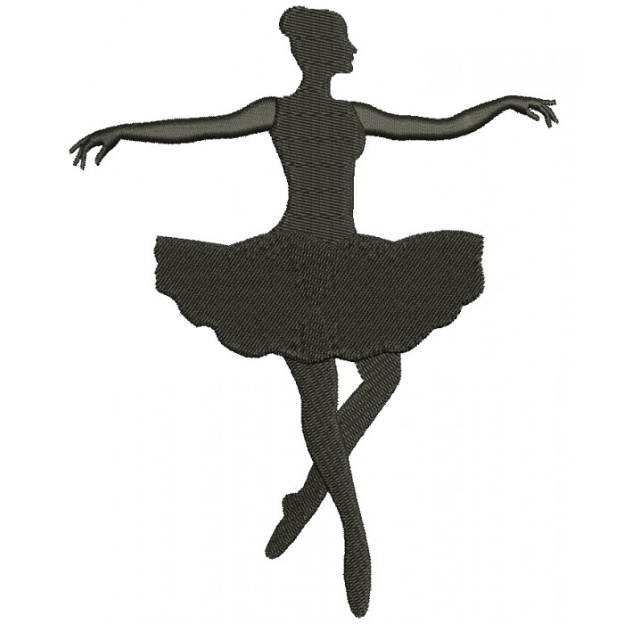 Ballerina Dancer Filled Machine Embroidery Digitized Design Pattern