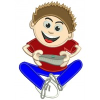 Boy Playing Computer Game Applique Machine Embroidery Digitized Design Pattern