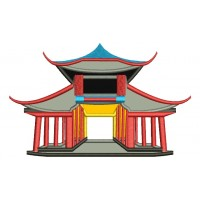 Chinese Oriental Palace Applique Machine Embroidery Digitized Design Pattern