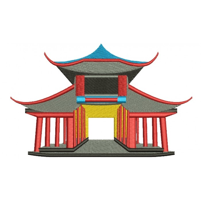 Chinese Oriental Palace Filled Machine Embroidery Digitized Design Pattern