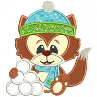 Christmas Fox With Snowballs Applique Machine Embroidery Digitized Design Pattern
