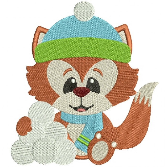 Christmas Fox With Snowballs Filled Machine Embroidery Digitized Design Pattern