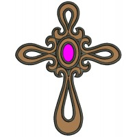 Cross with a jewel Applique Machine Embroidery Digitized Design Pattern