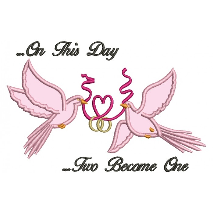 Doves Holding a Heart Ribbon Wedding Rings Applique Machine Embroidery Digitized Design Pattern