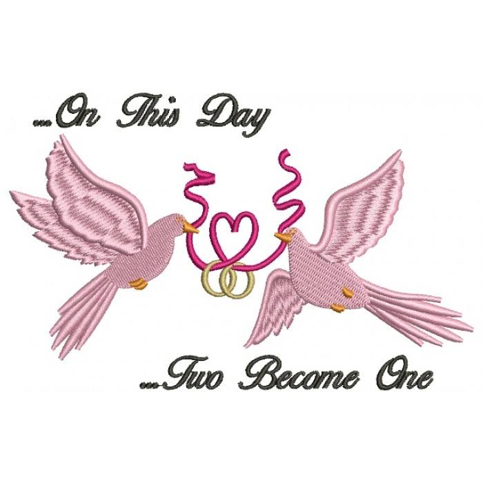 Doves Holding a Heart Ribbon Wedding Rings Filled Machine Embroidery Digitized Design Pattern