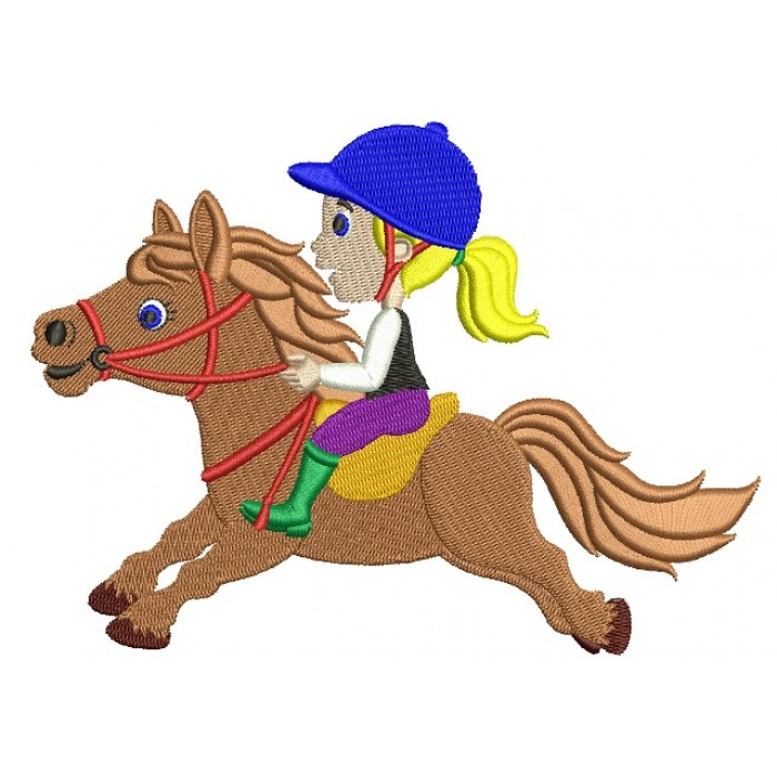 Girl Jockey Filled Machine Embroidery Digitized Design Pattern