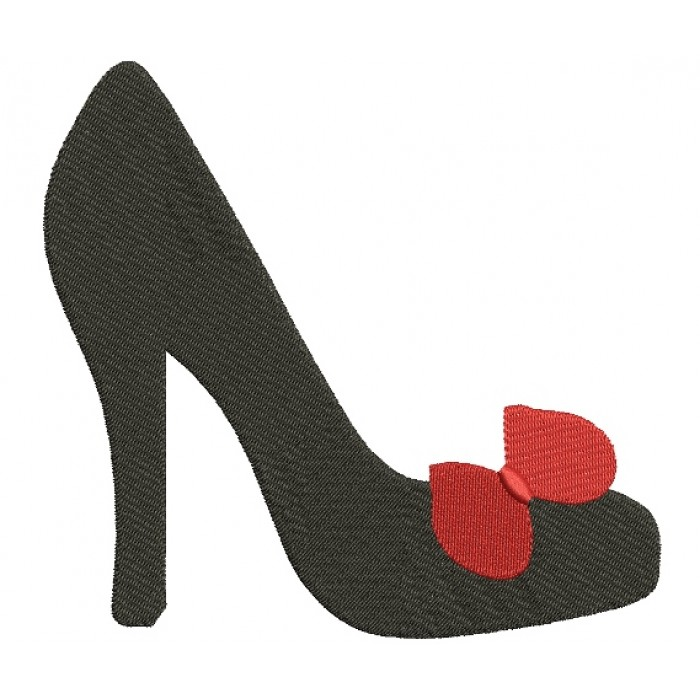 High Heel Shoe With a Bow Filled Machine Embroidery Digitized Design Pattern